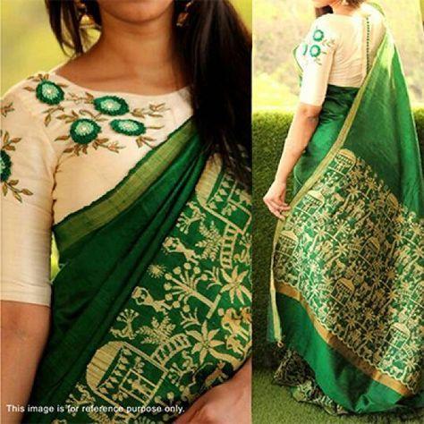 Green Bhagalpuri Saree with Embroidered Blouse