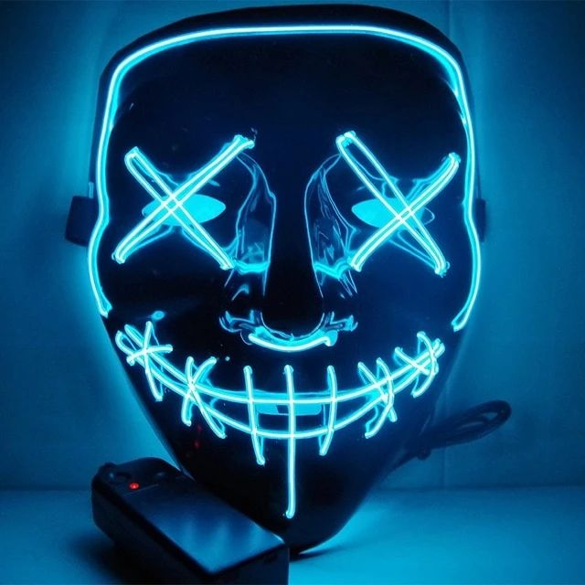 Led Mask Glow In The Dark With Images Light Mask Scary Mask