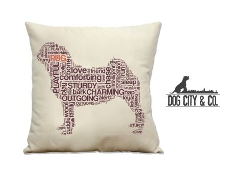 """Typographic 10"""" x 10"""" Cat & Dog Pillows 