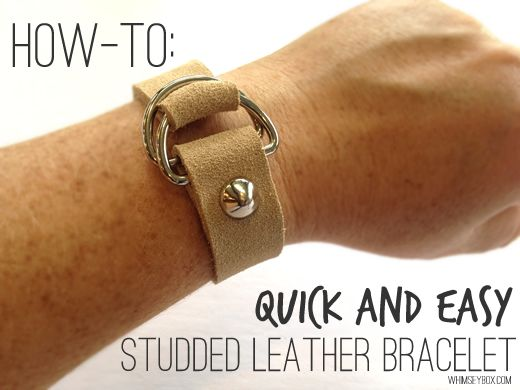 How-To: Quick and Easy Studded Leather BraceletDiy Leather, Diy Crafts, Leather Jewelry, Leather Studs, Studs Leather, Leather Belts, Howto, Studs Bracelets, Leather Bracelets