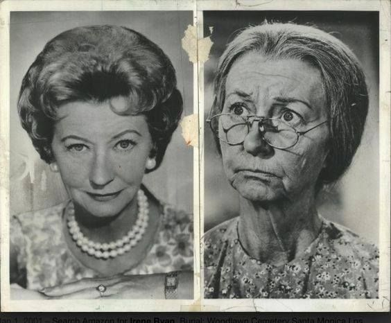 """Irene Ryan ,before and after costume on """"The Beverly Hillbillies"""""""