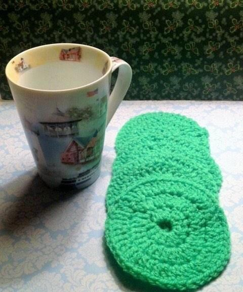 Green Coffee Coasters, Round Coasters, Crochet Coaster Set, Table Coasters, Coffee Lovers Gift, Drink Pads, Table Savers, Beverage Coasters