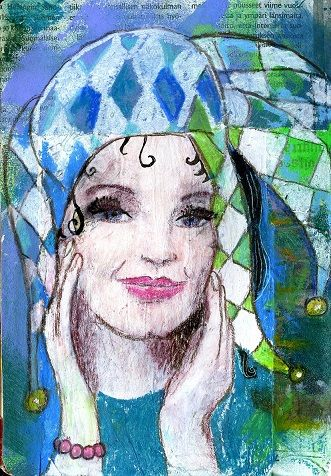 Art journal page/ harlequin/  Mixedmedia/Marjatta Piironen