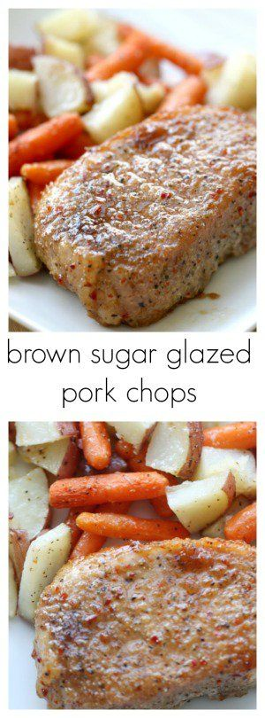 Brown Sugar Glazed Pork Chops from SixSistersStuff.com | Quick and Easy 6 Ingredient Dinner | Fast Meal Ideas | Healthy Recipes