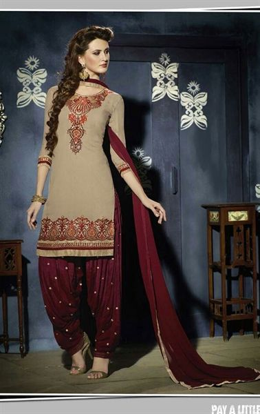 Picture of Charming Dark Cream Georgette Patiala Salwar Kameez