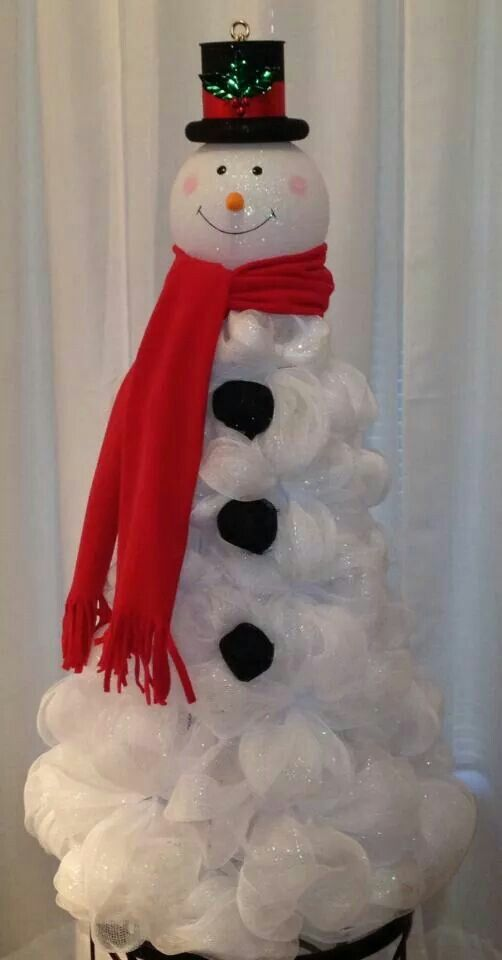 snowman on tomato cage christmas pinterest deco mesh mesh and i love. Black Bedroom Furniture Sets. Home Design Ideas