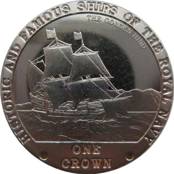 Тристан-да-Кунья. Знаменитые корабли Королевского флота «Голден Хинд» 1 крона 2008 г.