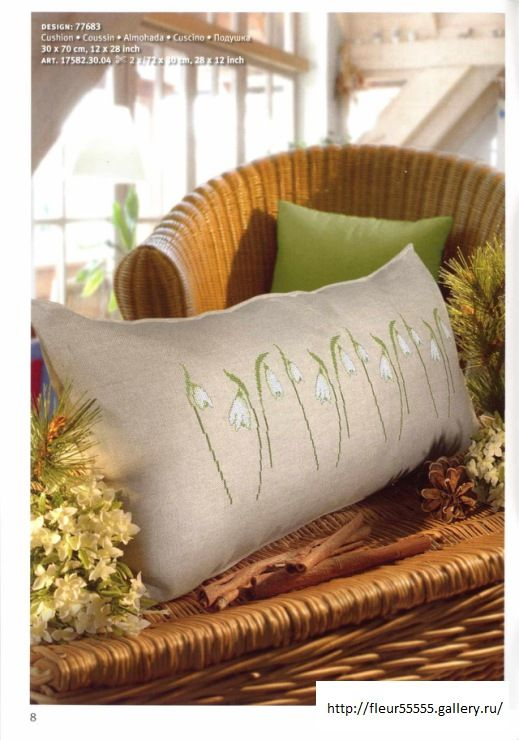 Pillow with snowdrops (1/2)