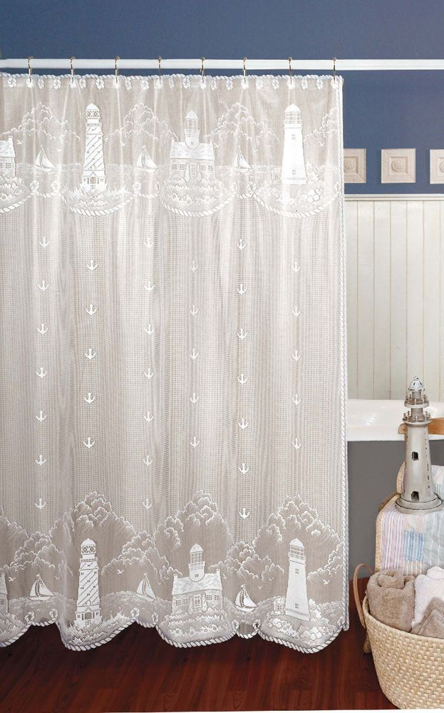 Details about Heritage Lace White LIGHTHOUSE Shower Curtain s in 2019  Sea Shabby  Nautical