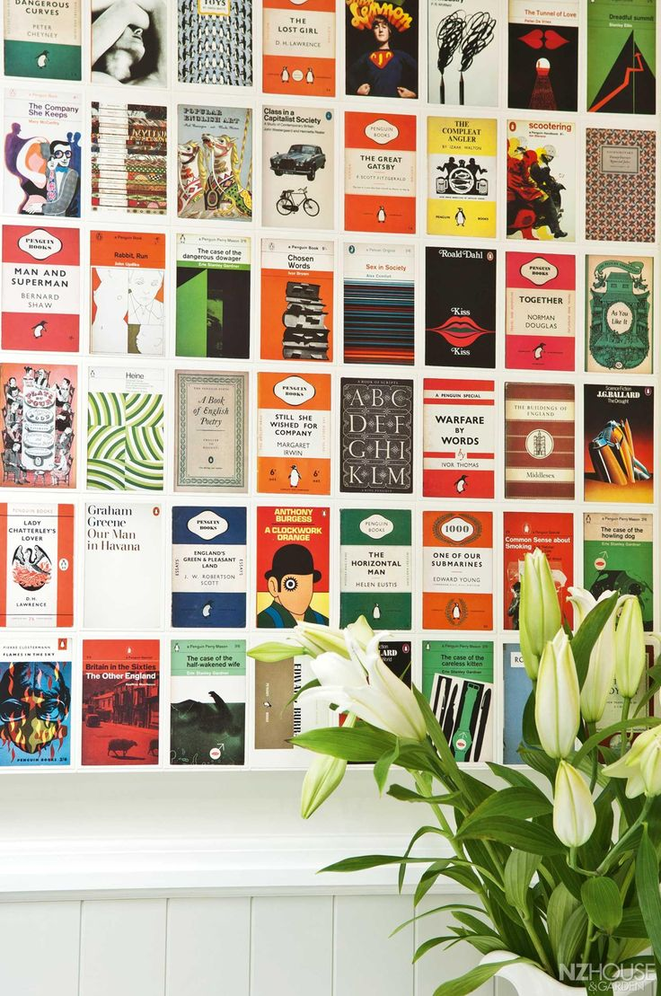 Sandy created a collage of Penguin book cover postcards for the front entrance - NZ House & Garden Magazine
