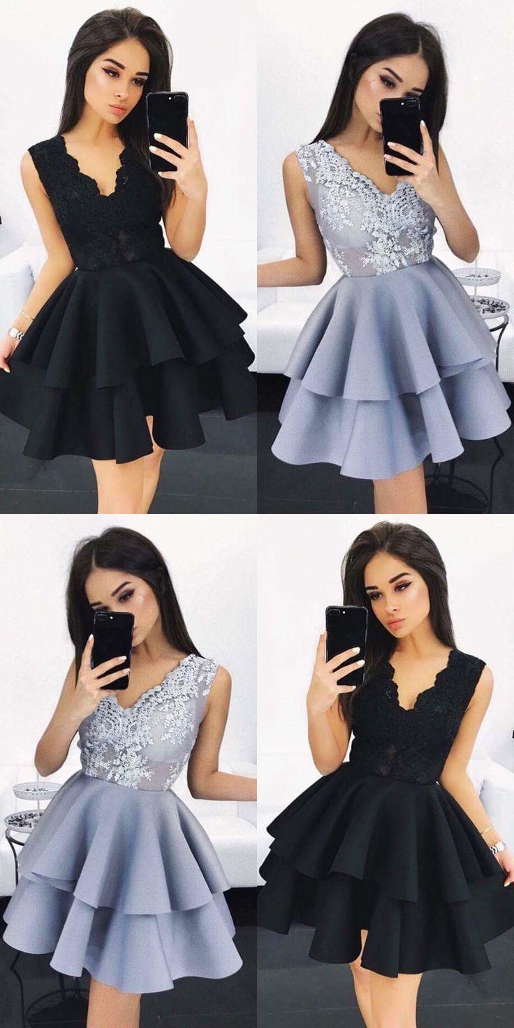 A-Line Homecoming Dresses,V-Neck Homecoming Dresses,Light Sky Blue Homecoming Dresses,Satin Homecoming Dresses,Appliques Homecoming Dresses,Tutu Dresses,Cute Homecoming Dresses,Homecoming Dresses 2017