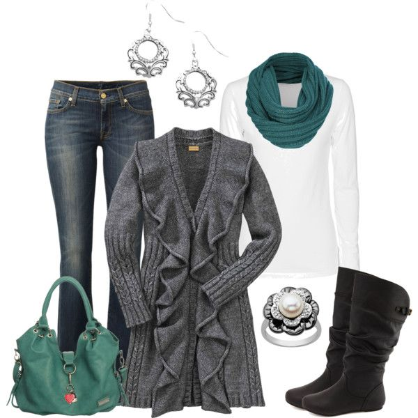 """""""Ruffled Long Cardigan"""" by smores1165 on Polyvore"""