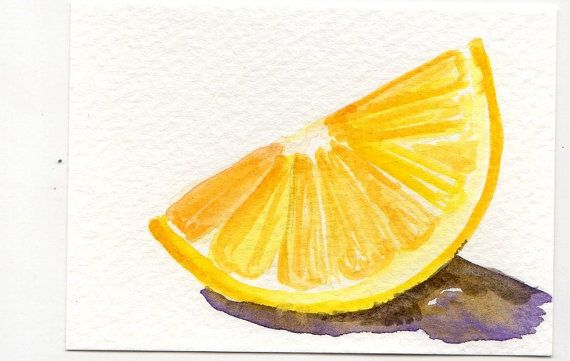 Original  Lemon Wedge Watercolor Painting ACEO by SharonFosterArt, $7.00
