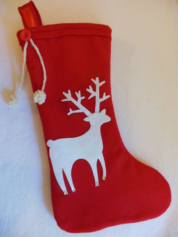 This would be a very easy DIY CHRISTMAS STOCKING  ...  Reindeer Christmas Stocking  ...  REINDEER via Etsy