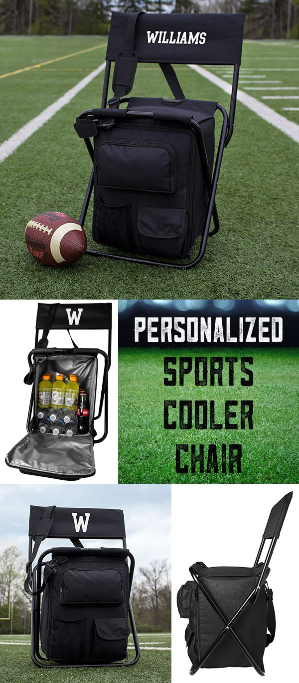 Perfect for the sports fan on your gift list, this portable chair with built in cooler and back rest personalized with a large single initial or name will be a sure winner for their next sporting event. Convenient, light and strong, this sports chair is easy to pack for the road and ready to fill with drinks and snacks for a tailgate party, camping trip, concert, or any event. This chair can be ordered at http://myweddingreceptionideas.com/collapsible-tailgate-backpack-cooler-chair.asp