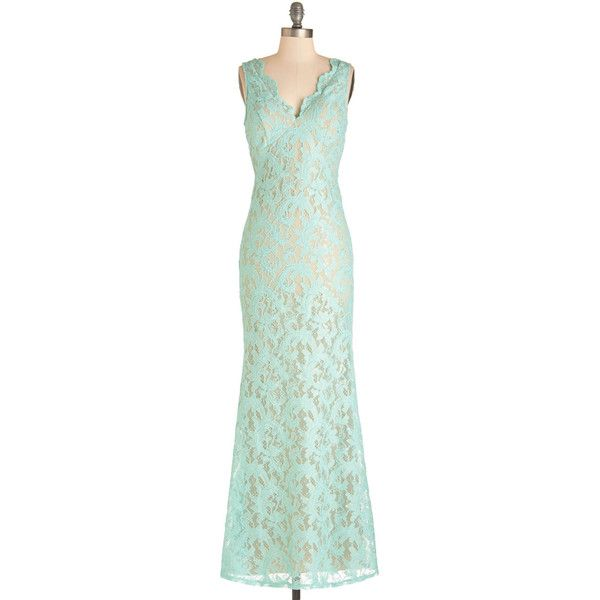 Pastel Sleeveless Maxi Glowing Romance Dress by ModCloth ($35) ❤ liked on Polyvore featuring dresses, sheer dress, pastel maxi dress, green dress, pastel green dress and green lace dress