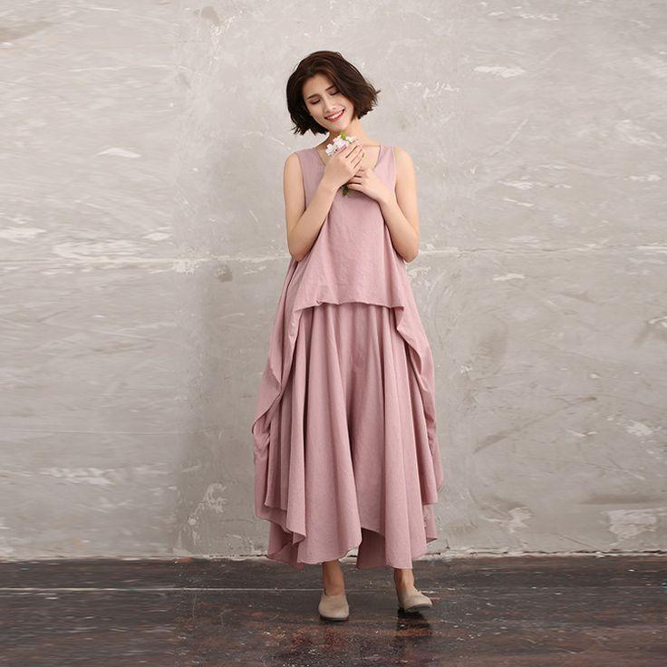 Women summer cotton irregular vest dress