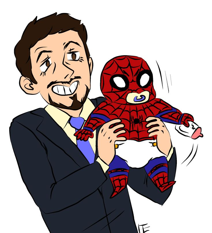 papa stark & baby spidey. quick drawing for @aluminumdandelion because she drew me a really great civil war review!!! that one rihanna song she likes i think