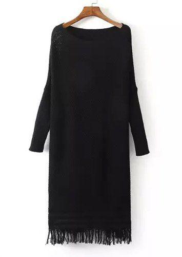 Chic Women's Scoop Neck Fringed Long Sleeve Sweater Dress