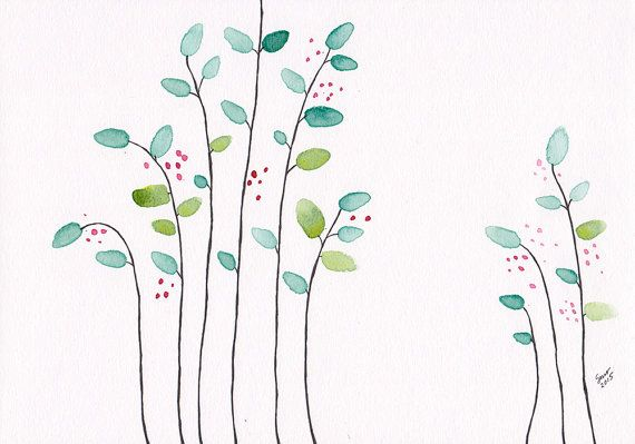 Simple nature themed art for gallery wall set. Original ink and watercolor illustration of minimalist branches with berries.