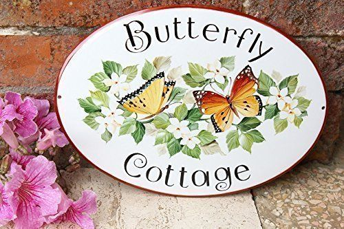 Hand Painted Home Sign with Butterfly Decorative Address Plaque Cottage Sign  DipintoAdArte -- Click image to review more details.