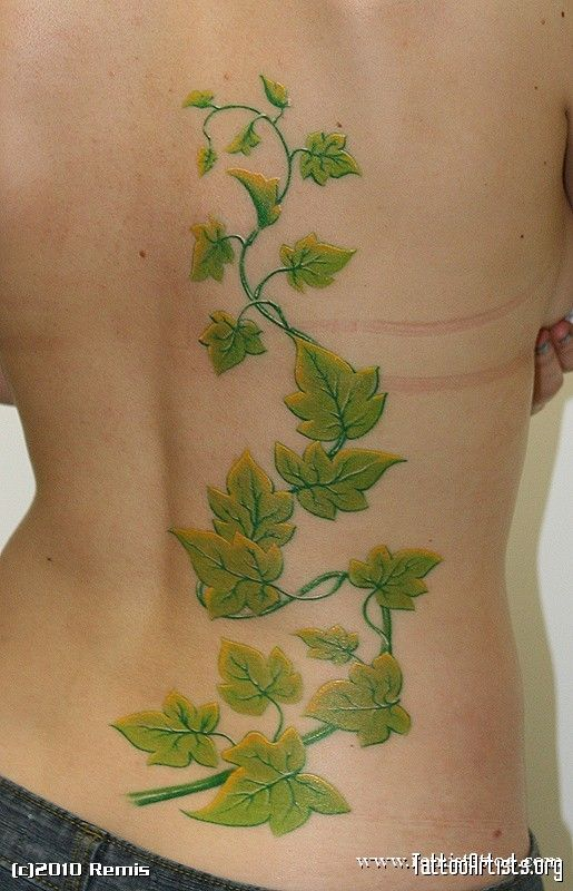 Ivy has a tattoo of ivy in the small of her back