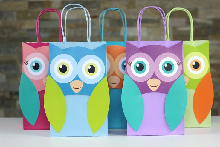 Owl Party Theme Printable Favor Bag Template. Simply Download, Print, Cut and Paste. Print as many copies as you need