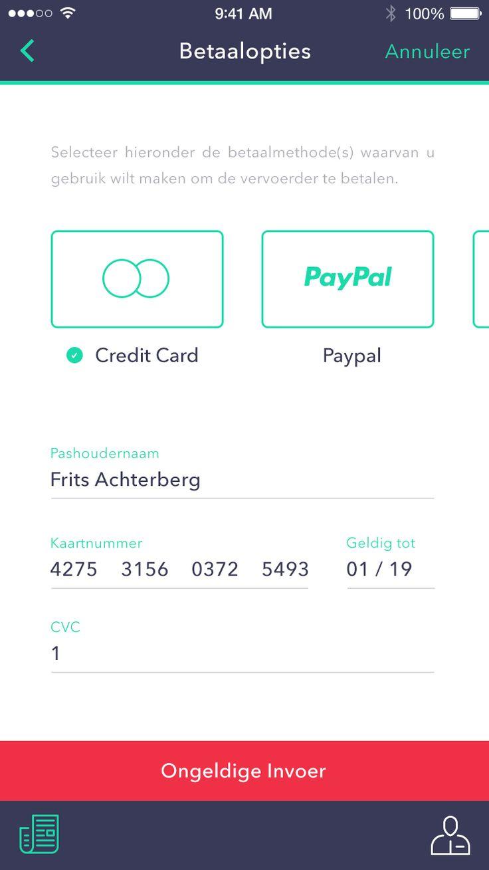 Payment screen --- Wouter van de Kamp