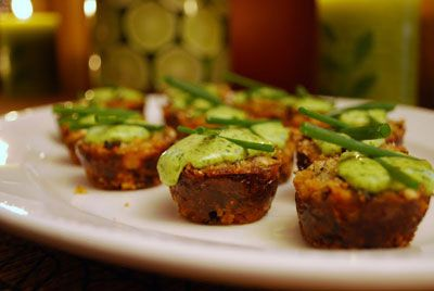 Mini crab cakes.. with lime and cilantro aioli... (which is really just a fancy word for spiced mayo if you ask me.)