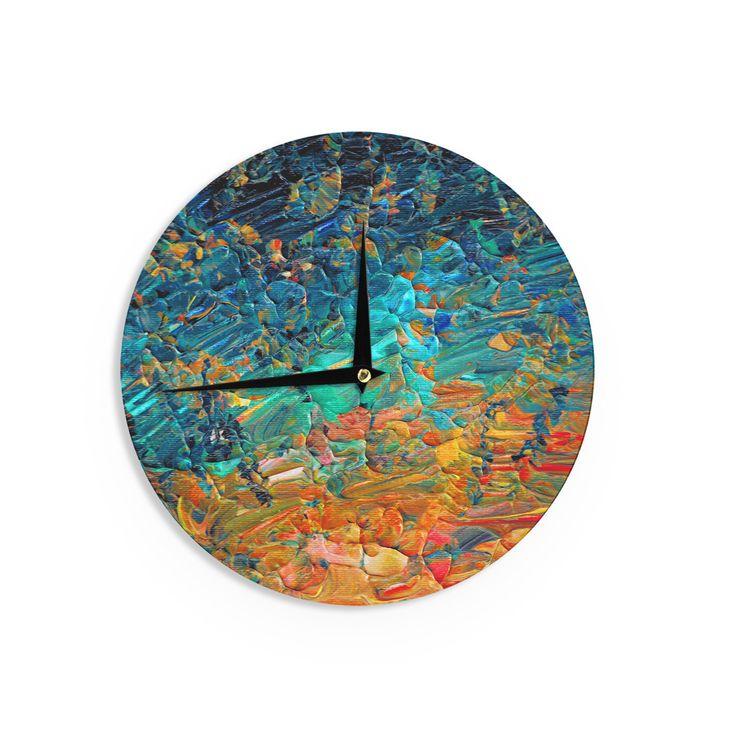"Ebi Emporium ""Eternal Tide II"" Teal Orange Wall Clock"
