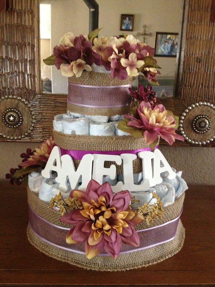 Burlap And Flowers Diaper Cake Rustic Baby Shower Love