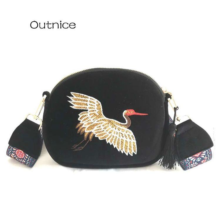 OUTNICE Brand 2017 New Hot Vintage Embroidery Women Messenger Bags Female Color Hobo Style Strap Shoulder Crossbody Bag for Girl