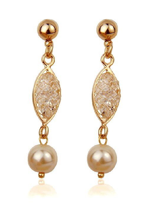 Champagne and Pearls - Crystal Filled Mesh drop Earrings.