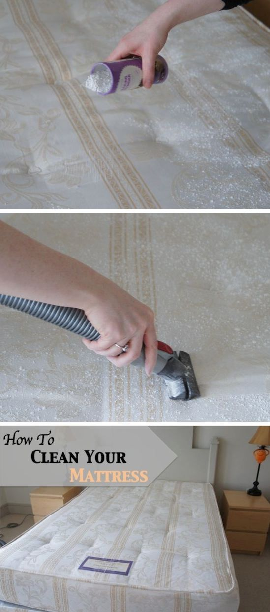 Clean your mattress by first vacuuming with the upholstery attachment then sprinkle with baking soda, leave for 30 mins and vacuum again.