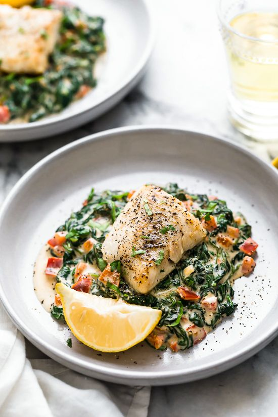 This easy Fish Florentine recipe, made with a pan seared firm white fish served …