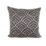 Dome cushion cover - white ink on dark grey linen