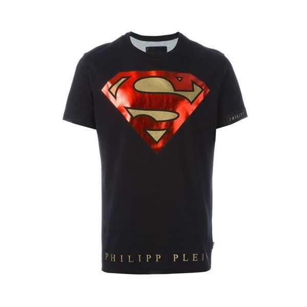 PHILIPP PLEIN 'Super Philipp' T-Shirt (1.605 BRL) ❤ liked on Polyvore featuring men's fashion, men's clothing, men's shirts, men's t-shirts, black, mens straight hem shirts, mens superman shirt, mens cotton shirts, mens short sleeve cotton shirts and mens superman t shirt