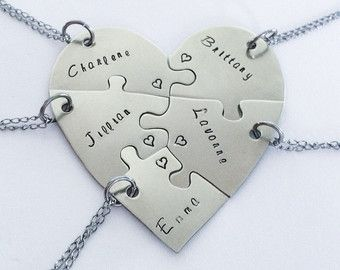 Hand engraved heart puzzle necklaces shaped by InspiredByBronx