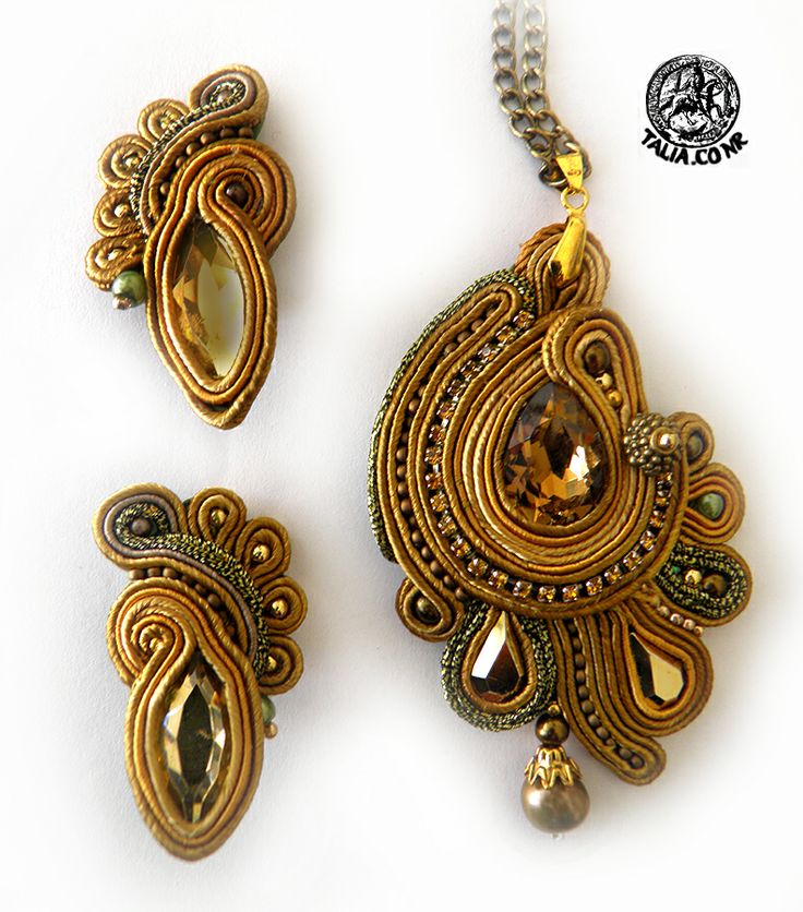 Pendant & clips in Yellow & Gold