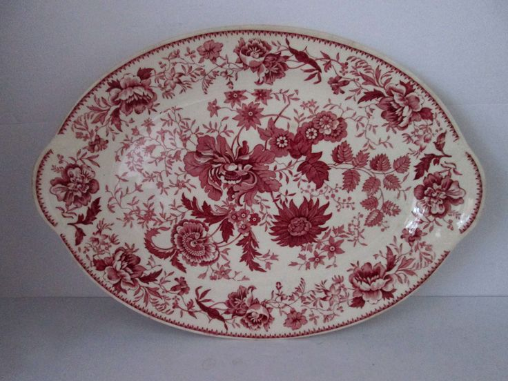 """Taylor, Smith & Taylor 11.5"""" LUGGED HANDLED PLATTER Center Bouquet Red Floral"""