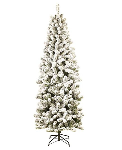 12 Foot Prince Flock Slim Artificial Christmas Tree Unlit ...
