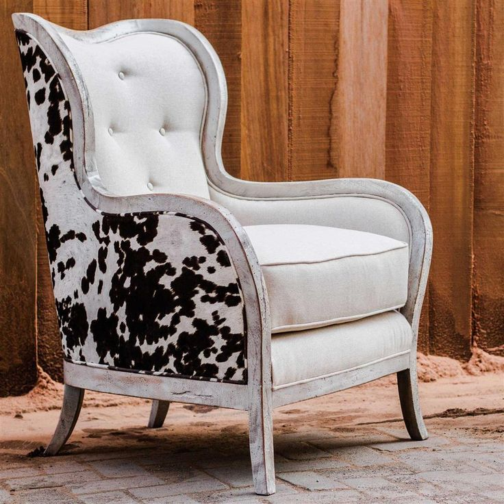 Kendra Rustic Lodge Faux Cow Hide Velvet Linen Wing Chair | Kathy Kuo Home