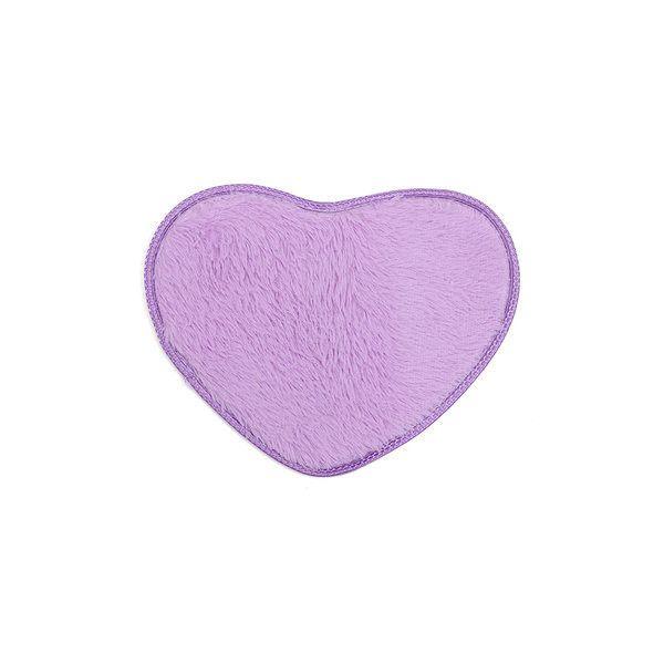 40x30cm Heart Shape Coral Velvet Absorbent Carpet Anti Slip Bath Mat... ($3.54) ❤ liked on Polyvore featuring purple