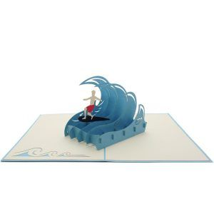 Surfing Vacation 3D Card has a blue cover with a surfing boy dominating a big wave. The image reveals a clue of what awaits inside. Upon opening the card and you will find a paper sculpture of a man performing his surfing technique. Our craftsmen have carefully designed every detail of the pop-up to form a perfect and lively sculpture. We always leave the card blank so that you can personalize your own words.
