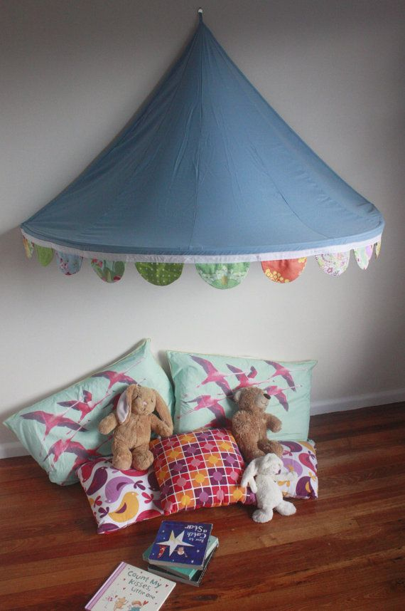 Children's Bed Canopy Circus Tent with Gorgeous Scalloped Bunting - White Trim