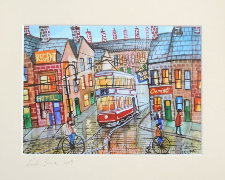 Cobbled street penny farthings mounted print  from a watercolour painting Gordon Bruce art https://www.etsy.com/listing/481187709/cobbled-street-penny-farthings-mounted?utm_campaign=crowdfire&utm_content=crowdfire&utm_medium=social&utm_source=pinterest
