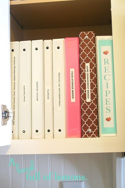 family binders-for different things! LOVE!