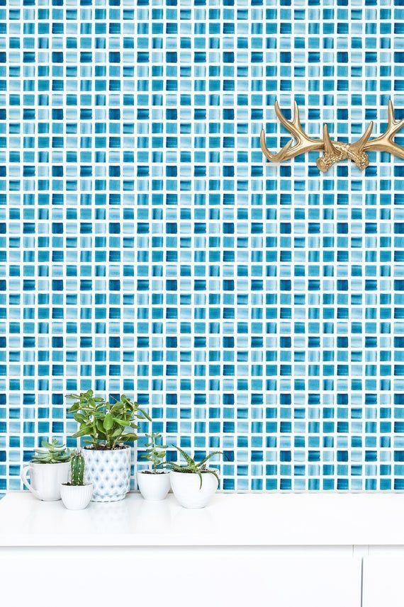 Blue Mosaic Peel And Stick Wallpaper Tile Backsplash Removable Etsy Blue Mosaic Peel And Stick Wallpaper Tile Backsplash