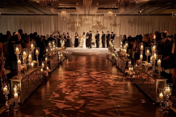 An Opulent Spring Wedding With Timeless Elegant Decor In Chicago Wedding Aisle Decorations Indoor Wedding Indoor Wedding Ceremonies
