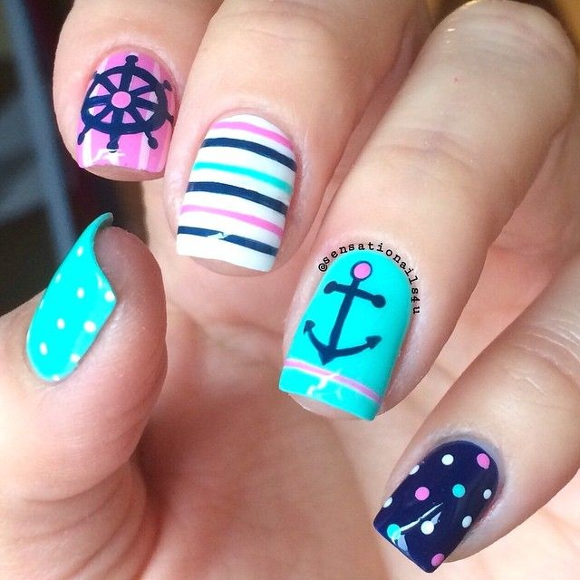 Nautical Nails Walking around my neighborhood and seeing those boats ready to have fun over the sea plus this beautiful weather just inspired me to paint some Nautical nails today. Oh how much I love Spring/Summer days. @chinaglazeofficial Too Yacht to Handle White on White Dance Baby and @essiepolish Style Cartel. All design painted with same polishes #sensationails4u